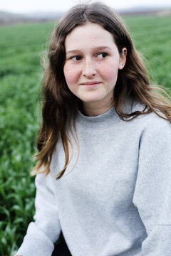 Outdoor close up portrait of teen 13 years old girl