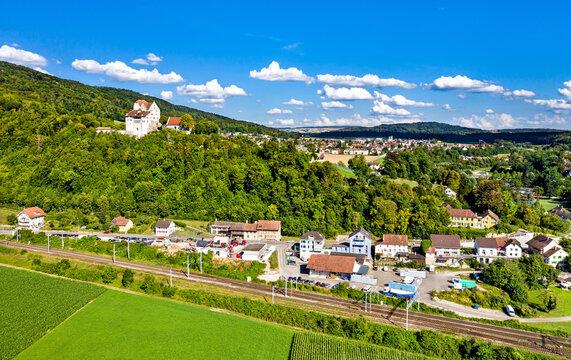 Aerial view of Wildegg Castle in Aargau, Switzerland