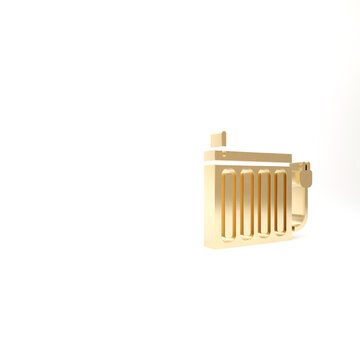 Gold Heating radiator icon isolated on white background. 3d illustration 3D render.