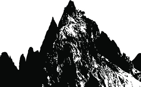 black and white silhouette of a mountain