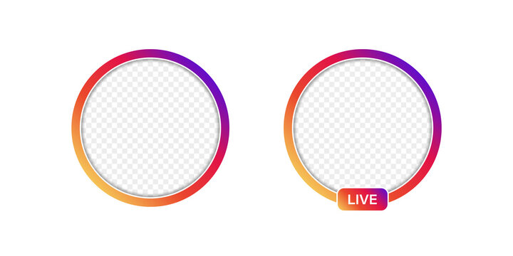 Live frame icon with transparent background. Social media circle frame for web design. Vector