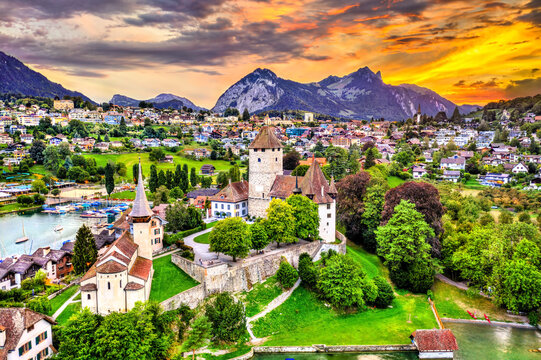 Aerial view of Spiez castle on lake Thun in the canton of Bern, Switzerland