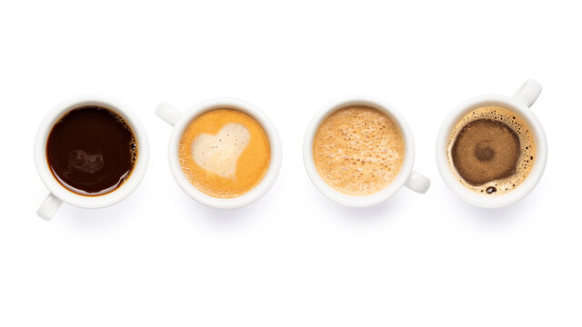Variety of coffee cups on white background