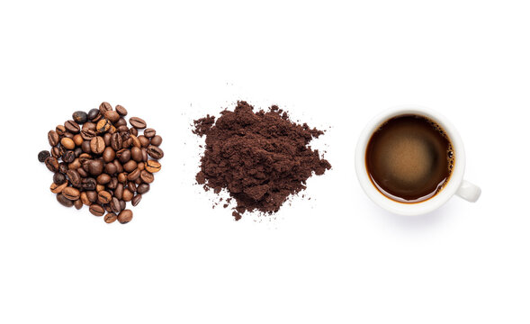 composition with coffee beans, ground and black coffee cup