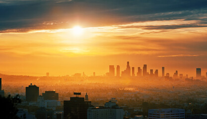 Fotobehang - City of Los Angeles skyline at sunrise, scenic cityscape view from Hollywood Hills.