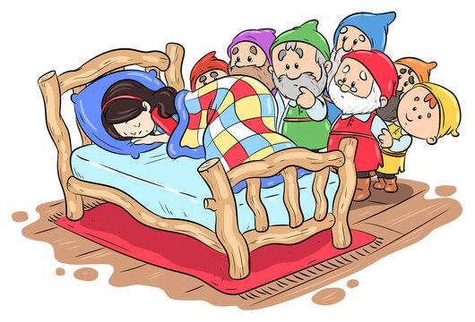 Die sieben Zwerge finden das schlafende Schneewittchen - Vektor-Illustration