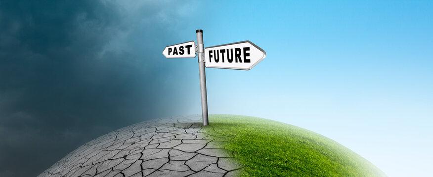 Wechsel von Vergangenheit in die Zukunft im Klimwandel