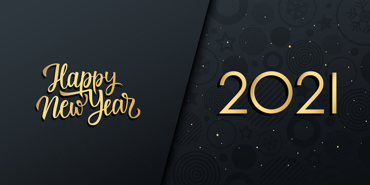 2021 New Year luxury holiday banner with gold handwritten inscription Happy New Year. Vector illustration.