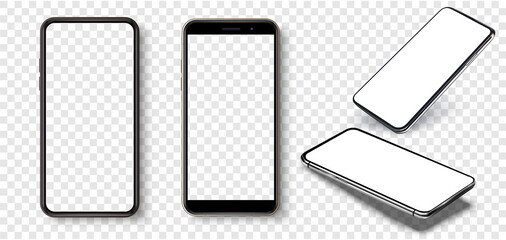 Photo sur Plexiglas Dinosaurs Smartphone frame less blank screen, rotated position. Smartphone from different angles. Mockup generic device. UI/UX smartphones set. Template for infographics or presentation 3D realistic phones.