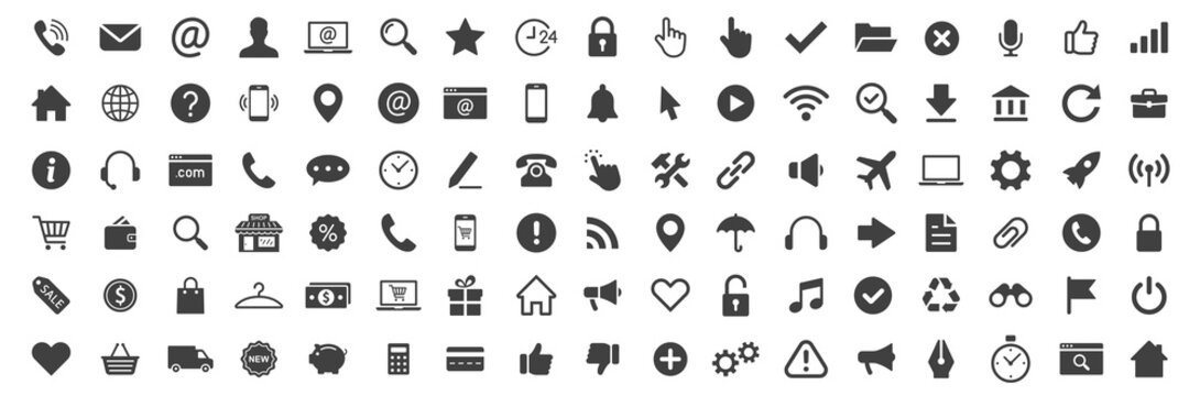 Web icon collection. Basic icons. Icon set. Vector