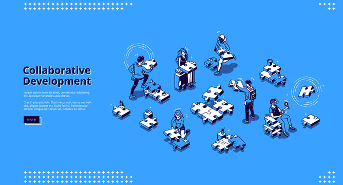 Collaborative development banner. Business concept of teamwork and partnership strategy. Vector landing page of collaboration in corporate office with isometric people and puzzle pieces