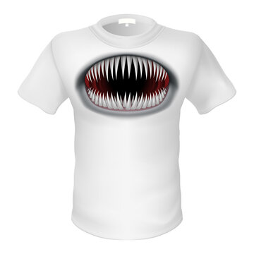 White T-shirt and a Picture of the Monster Jaw. Illustration on White Background