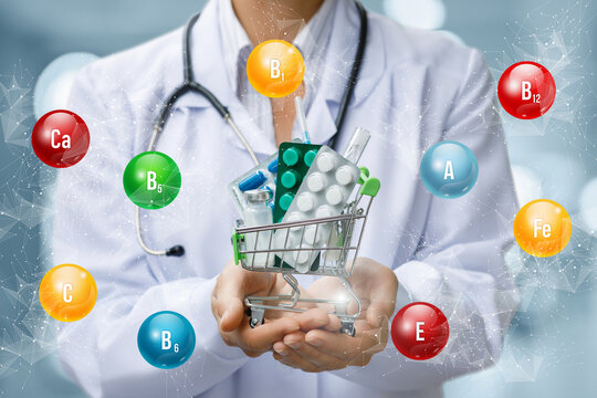Doctor shows a basket with purchases of pills containing vitamins .