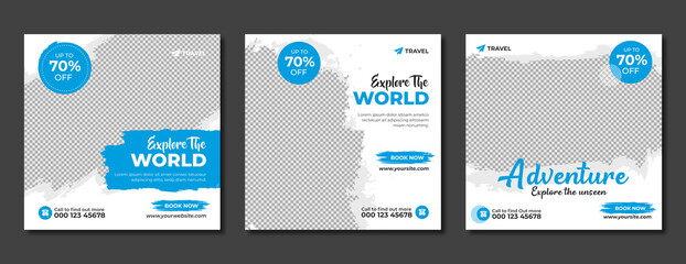 Set of travel sale social media post template. Web banner, flyer or poster for travelling agency business offer promotion. Holiday and tour advertisement banner design. Fotobehang
