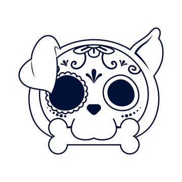 traditional mexican dog skull head line style icon