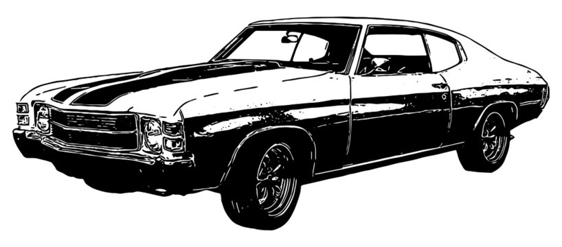 1970s classic muscle car vector graphic illustration with texture in black on white background
