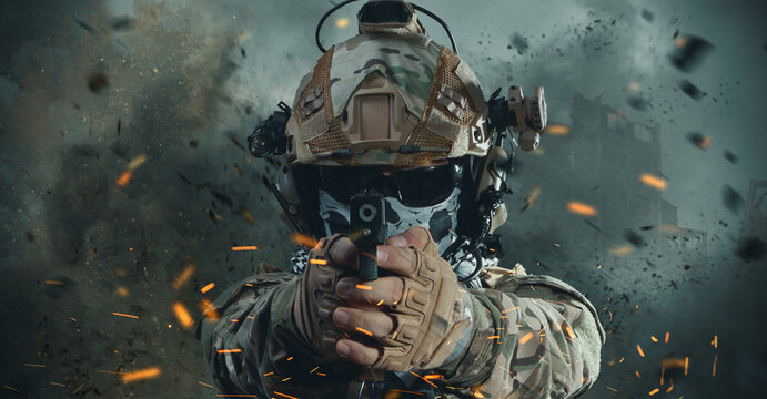 special forces soldier in battlefield . modern warfare.