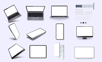 Photo sur Plexiglas Dinosaurs Vector minimalistic 3d isometric illustration set device. Smartphone, laptop, tablet, tv perspective view. Side and top view. Mockup generic device.