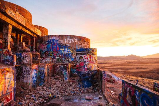 sunset on abandoned Utah mine