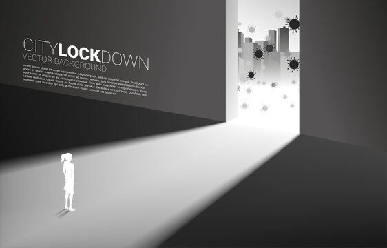 Silhouette of woman lock down inside building from virus outside . Concept of city lock down social distancing and isolation.