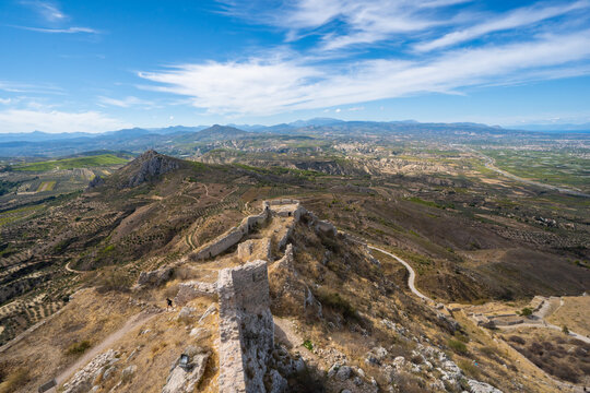 Castle of Acrokorinth, the acroppolis of ancient Corinth in Peloponnese, Greece