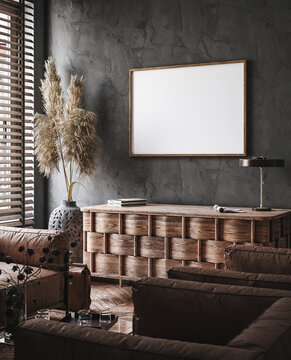 Frame mockup in modern industrial interior with leather furniture, luxury office, 3d render