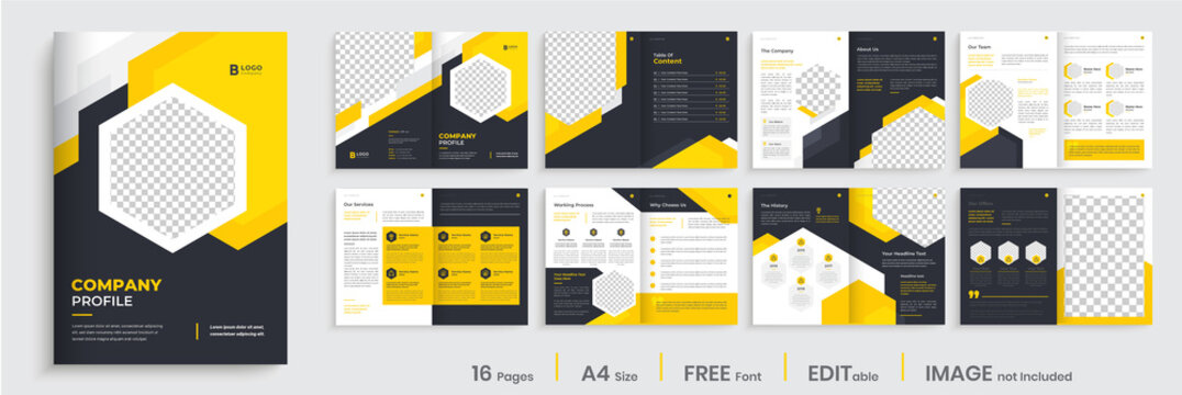 Brochure template layout design, minimal business brochure orange color shape design, annual report, company profile, editable template layout.