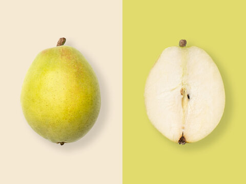 Layout of pear. Creative food concept. Flat lay