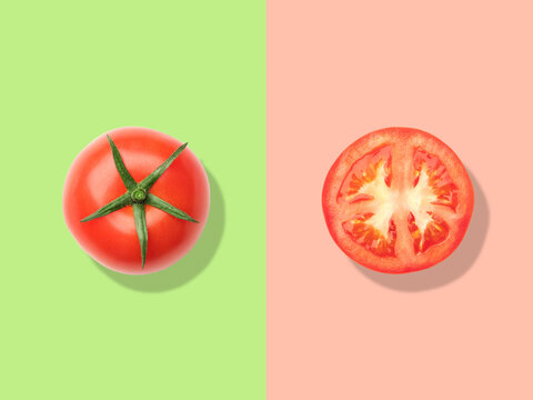 Layout of tomato. Creative food concept. Flat lay