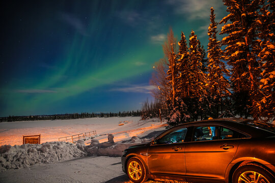 Northern Lights on a full moon night, Fairbanks, Alaska