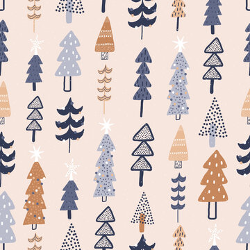 Winter forest. Cute seamless pattern. Christmas holidays in the forest.