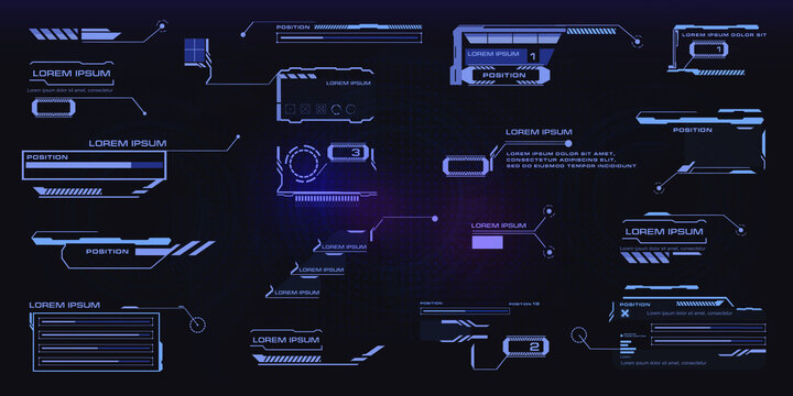 Futuristic Callouts titles collection in HUD style. Futuristic User Interface elements. Tech callout bar labels, information call box bars and modern digital info boxes layout templates. Vector HUD