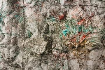 Pomalowane farbami olejnymi odbicie liści, abstrakcyjne tło, struktura.