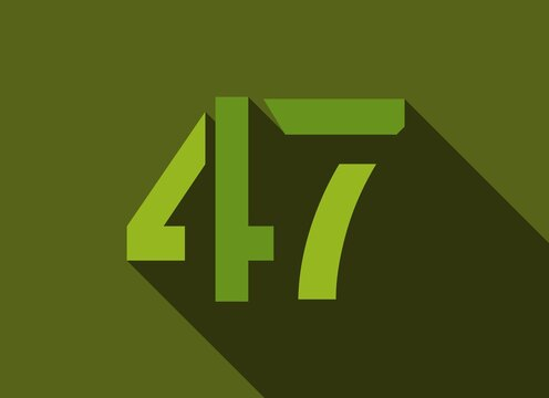 47 Number with long shadow, green colors cutting style. For logo, brand label, design elements, corporate identity, application & more. Vector editable illustration.