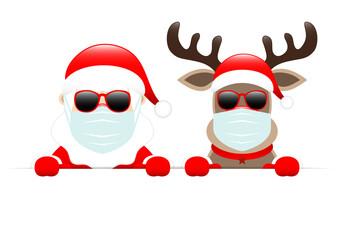 Photo sur Plexiglas Dinosaurs Weihnachtsmann Und Rentier Maske Mit Sonnenbrille Horizontales Banner