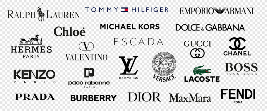 Top and most popular clothing brands. Logo Louis Vuitton, GUCCI, Hermes, Prada, Coco Chanel, Ralph Lauren, Burberry, Versace, Fendi, Armani, valentino, Kors, kenzo and more. Vector illustration