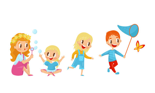 Little Boy and Girl Catching Butterflies and Blowing Bubbles Vector Illustration Set