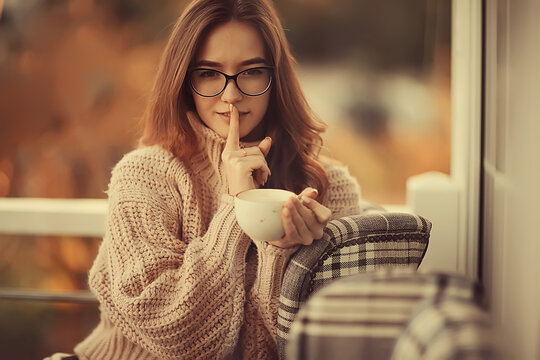 happy girl autumn cafe sweater concept vision model with glasses posing