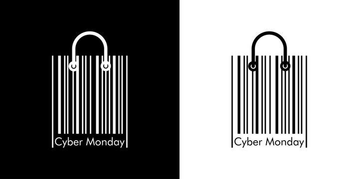 Ofertas del Cyber Monday. Logotipo lineal con texto Cyber Monday en código de barras como bolsa de la compra en fondo negro y fondo blanco