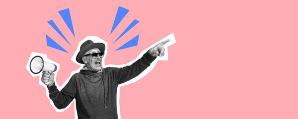 Senior man pointing with megaphone. Collage in magazine style with bright coral pink background....