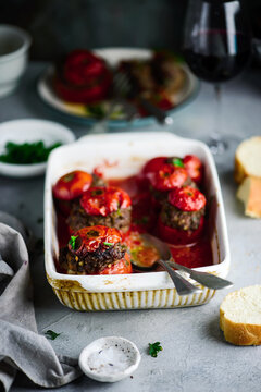 Stuffed Tomatoes in French..selective focus