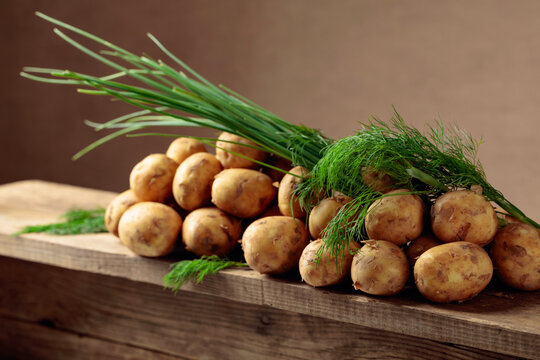 Young fresh organic potatoes with dill and onion on a old wooden table.