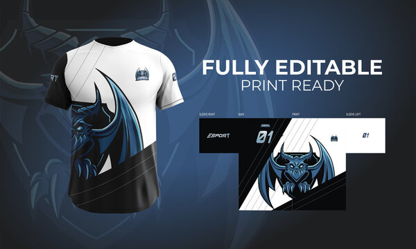 Jersey T Shirt Gaming Esports Logotype Design Orbitron Dragon