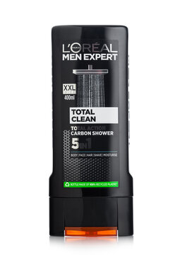 LONDON, UK - OCTOBER 14, 2020: L'oreal men expert 5 in 1 shampoo and shower gel on white