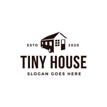 Minimalist tiny house trailer logo vector on white background