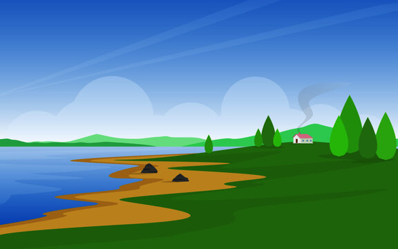 landscape with lake and trees  Village art concept