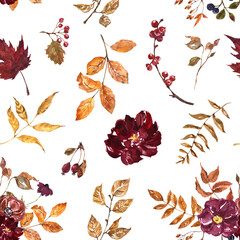 Beautiful watercolor fall flowers and leaves seamless pattern. Red, burgundy, purple flowers, orange foliage, forest dry plants on white background. Botanical designer paper. Autumn illustration.