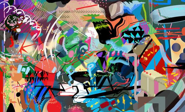 Abstract multicolor digital art with random forms