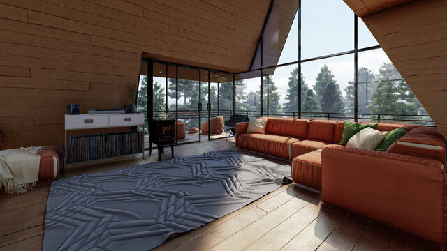 Living Room Inside an A Frame House in the Daytime 3D Rendering