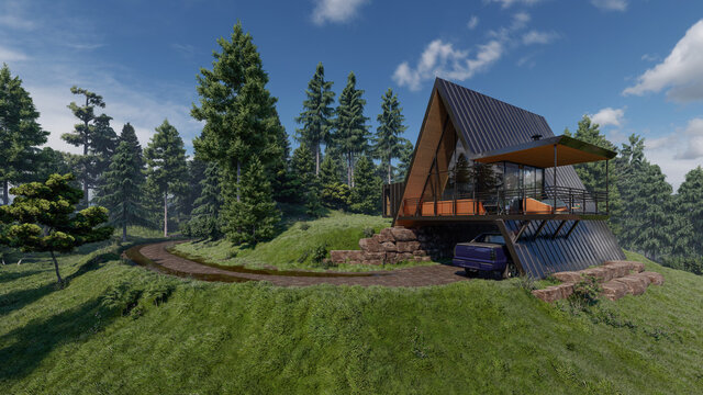 Triangle Shaped House with a Garage and Balcony in Natural Daylight 3D Rendering